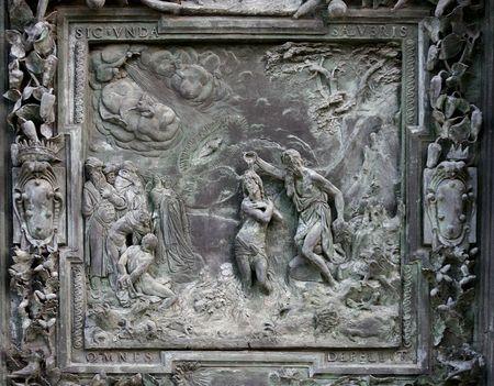 bas relief: Jesus baptism - ancient bas relief, Pisa, Italy