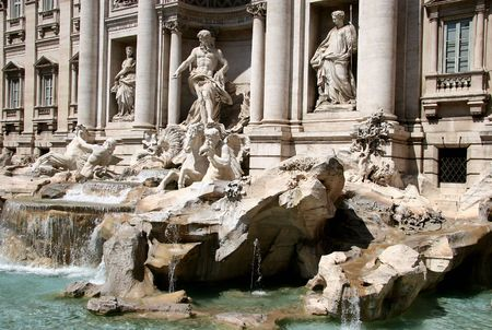 The art of Trevi fountain, Rome Stock Photo