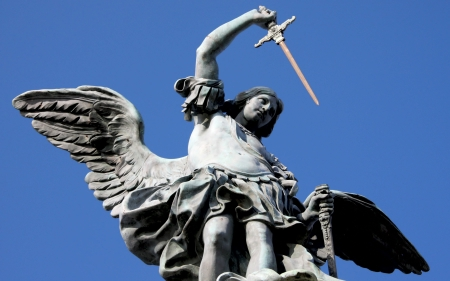 michael the archangel: The bronze statue of archangel Michael by von Verschaffelt, 1753, Castel SantAngelo, Rome Stock Photo