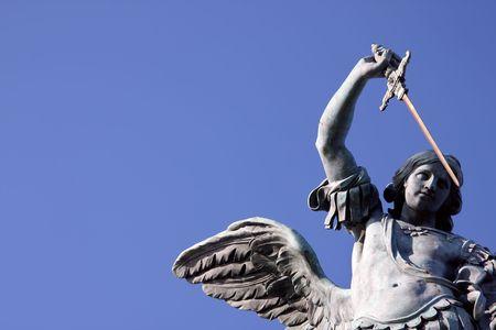 The bronze statue of archangel Michael by von Verschaffelt, 1753, Castel SantAngelo, Rome Stock Photo