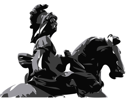 sculptures: vector - vintage girl on the horse