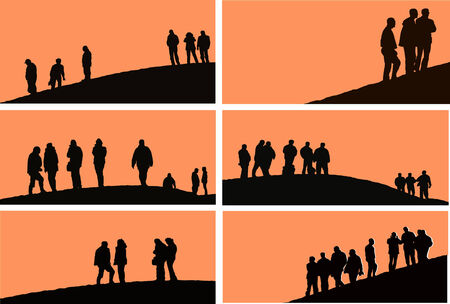 vector - people at sunset Illustration