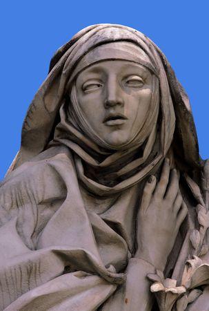 escultura romana: Santa Catalina, estatua en el Castillo de San Angel, Roma  Foto de archivo
