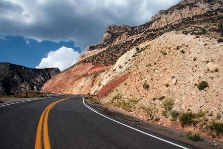 Scenic roadway in the north west mountains, USA photo
