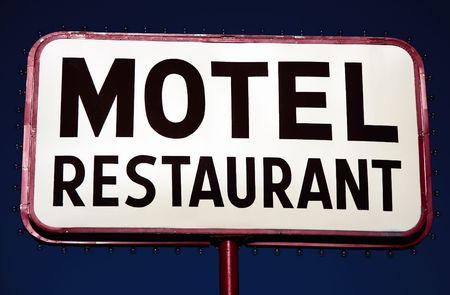 Sign motel restaurant Stock Photo