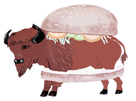 become: vector - ham burger - become a vegetarian! Illustration