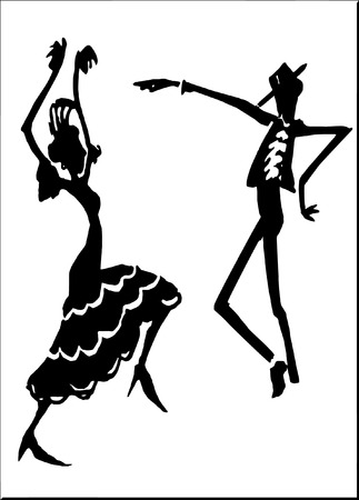 rumba: vector - Spanish dancers Illustration