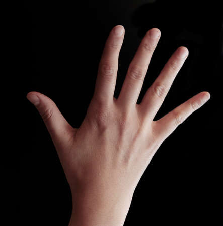 animal vein: Open hand on black background