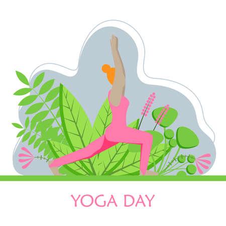 Woman is practicing yoga. Vector flat illustration