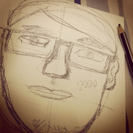 illustration: Sketching of a man portrait.