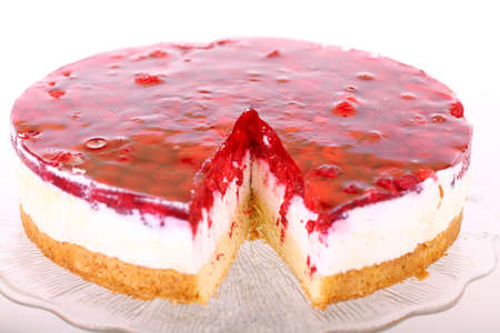 Raspberry cake on glass plate