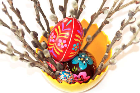 Easter bouquet of wooden eggs and willow tree Stock Photo - 12524753