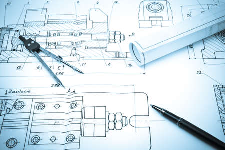 Blueprint drawing of industry detail, creative concept photo