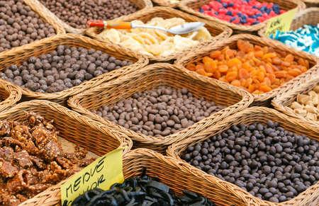 Varieties of nuts  peanuts, hazelnuts, chestnuts, walnuts, pistachio and pecans photo