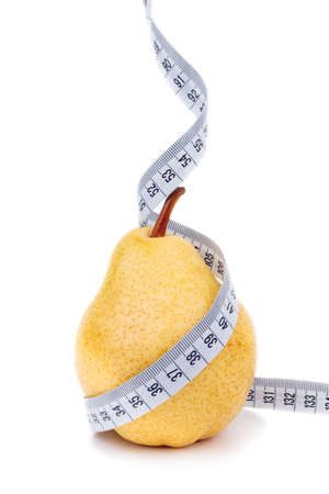 Pear measured the meter isoalted on white, weight loss concept
