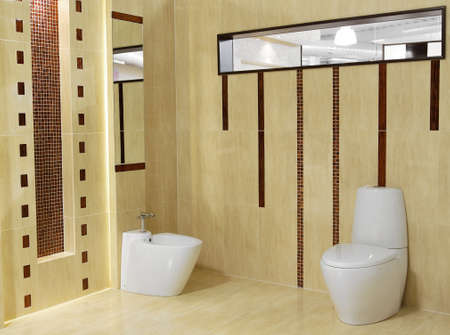 Stylish modern bathroom with sink and toilet photo