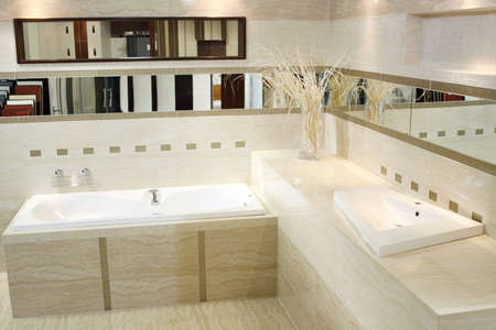 Modern bathroom interio with luxury design