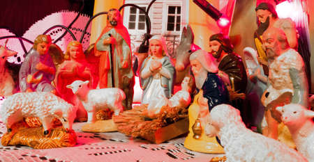 christmas catholic scene with Jesus child and biblical statues  photo