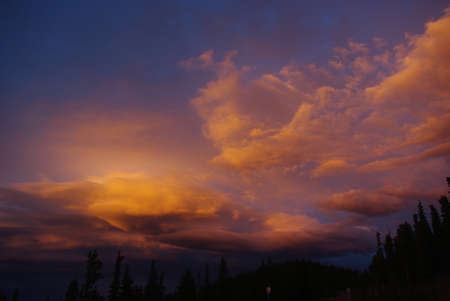 Colourful evening cloud, Rocky Mountains, Colorado