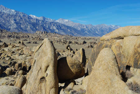 Bizarre rock formations, Alabama Hills and Sierra Nevada, California Stock Photo - 12521008