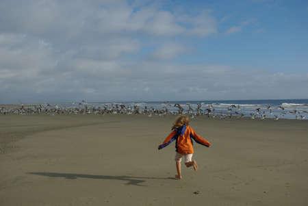 Girl running to seagulls on beach, Pacific Coast, Washington
