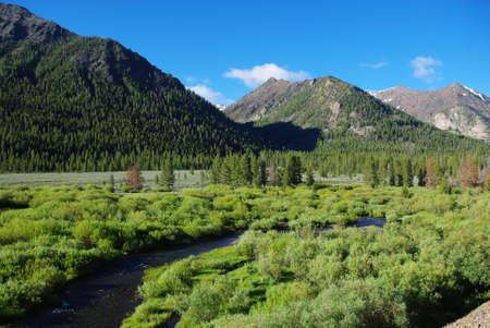 challis: High mountain valley with river, Salmon Challis National Forest, Idaho Stock Photo