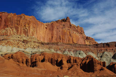 Brick red, gray, orange, yellow, blue and white, Capitol Reef National Park, Utah