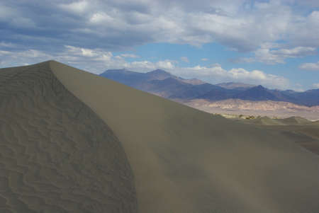 Death Valley dunes and high mountains, Death Valley, California photo