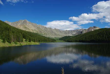 colorado mountains: Clinton Gulch Dam Reservoir near Fremont Pass, Rocky Mountains, Colorado Stock Photo