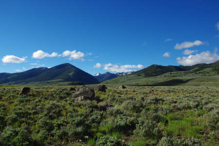 challis: Rocks, meadows and mountains in secluded high valley, Salmon Challis National Forest, Idaho