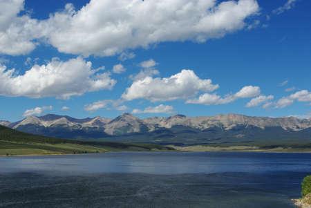 rocky mountains colorado: Taylor Park Reservoir and chain of fourteeners, Rocky Mountains, Colorado