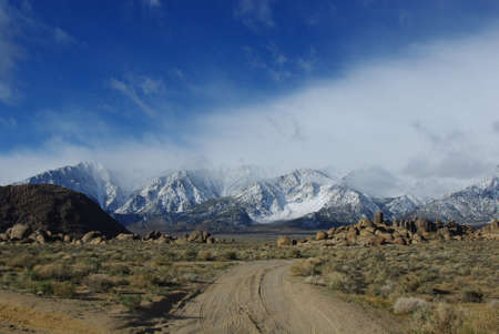 Jeep road towards Sierra Nevada, Alabama Hills, California photo