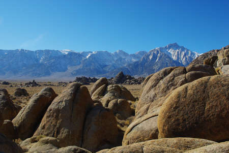 Alabama Hills with highest peaks of Sierra Nevada, California Stock Photo - 12733444