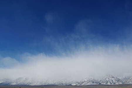 Clouds and blue sky on mighty Sierra Nevada range, California
