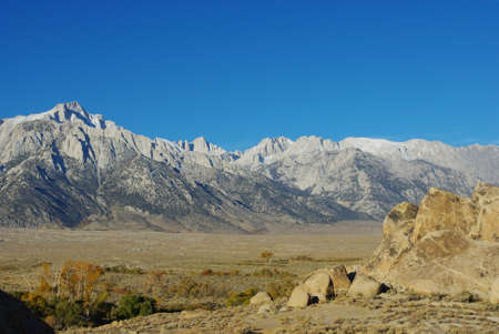 Alabama Hills and the highest peaks of the Lower 48, California Stock Photo - 12733220