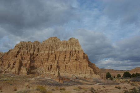 Cathedral Gorge formations under cloudy skies, Nevada photo