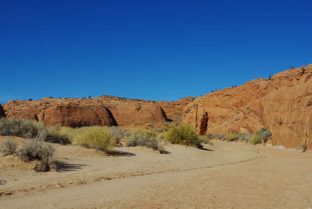 escalante: Sand, red rocks and green variations near Peek-a-boo slot canyon, Utah Stock Photo