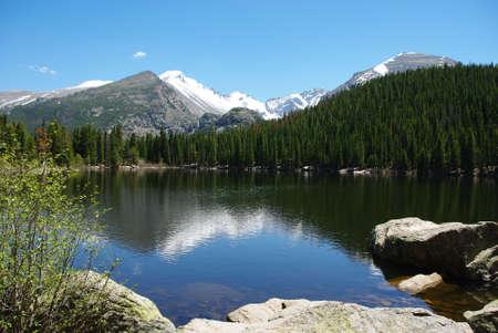 rocky mountains colorado: Lake, rocks, forests and Rocky Mountains, Colorado