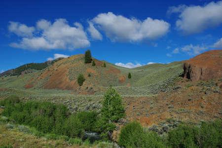 challis: Stream, high valley and mountains, Salmon Challis National Forest, Idaho Stock Photo