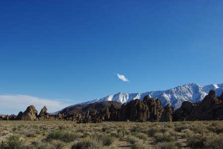 Alabama Hills rocks with snowy Sierra Nevada, California Stock Photo - 12900757