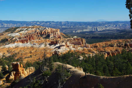 dispersed: Wide view of Bryce Canyon and dispersed distant mountains, Utah