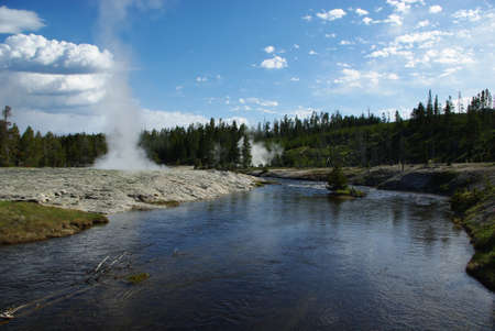 geysers: River, fumaroles and geysers, Yellowstone National Park, Wyoming