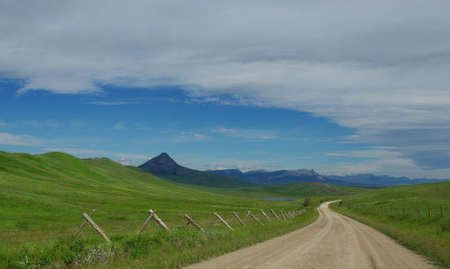 Lonesome road along lakes and Rocky Mountains, Montana Stock Photo - 12963790