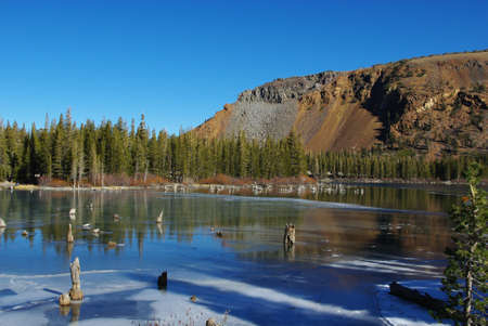 Lake, forest and mountains near Mammoth Lakes, California Stock Photo