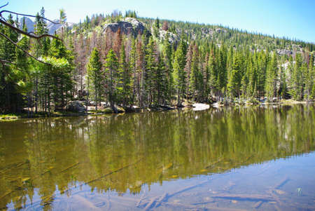 rocky mountains colorado: Lake and forests in the Rocky Mountains, Colorado Stock Photo