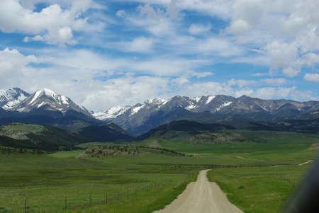 Dirt road to Bridger Range, Gallatin National Forest, Montana Stock Photo