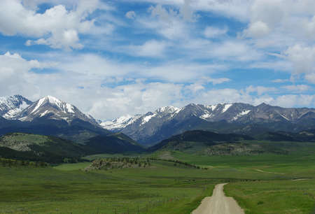 Dirt road to Bridger Range, Gallatin National Forest, Montana Stock Photo - 13309158