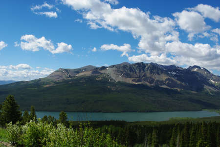 Lower Two Medicine Lake, forests and Rockies, Glacier National Park, Montana Stock Photo - 13309315