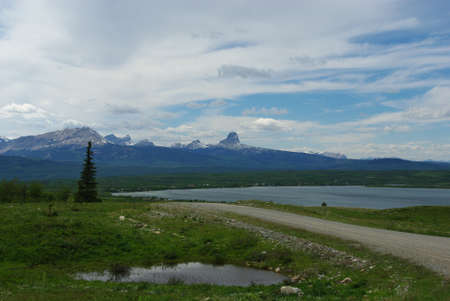 Duck Lake and Rockies, Glacier National Park, Montana photo