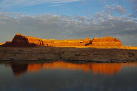 Sunset on rocks and Colorado River, Utah